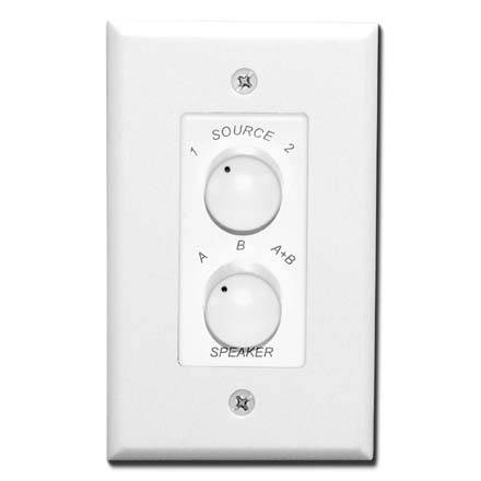 Saga Home Edition 2 Source Speaker Selector Wall Switch, white